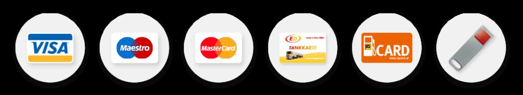 Zahlungsmöglichkeiten Tankstelle ink. IQ-Tankkarte